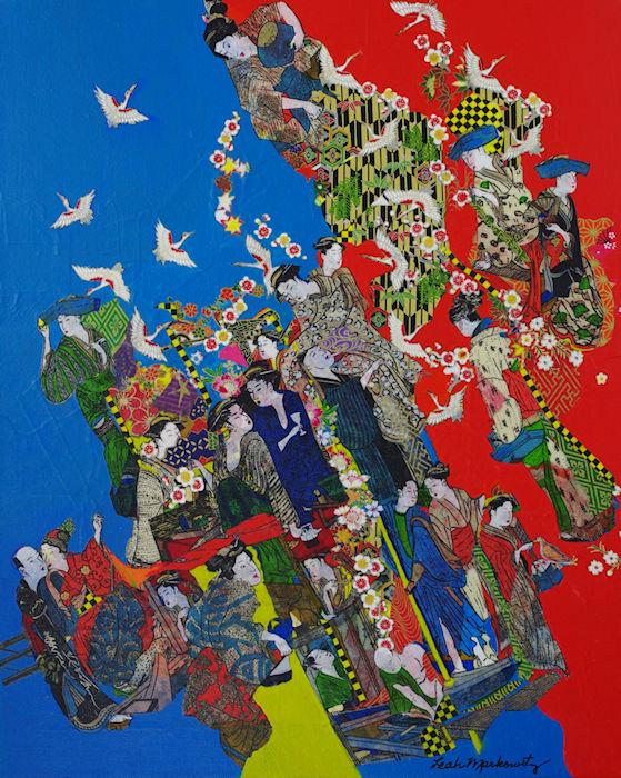 Leah Markowitz Fine Art: Life 16 x 20 Origami Paper, Acrylic on Canvas