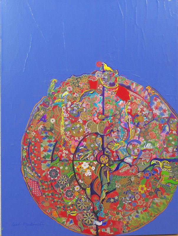 Leah Markowitz Fine Art: 49 Birds Origami on Acrylic Canvas 16 x 20