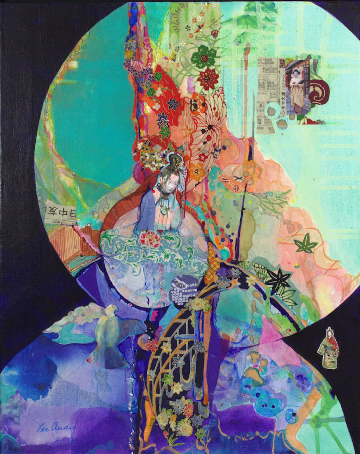 Leah Markowitz Fine Art: Geisha (SOLD)  l6 x 20 Origami Paper, Acrylic on Canvas