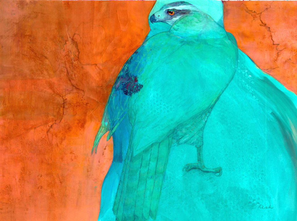 Leah Markowitz Fine Art: Guardian (SOLD)  2l x 29  Watercolor and Acrylic on Paper